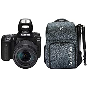 """RetinaPix Canon EOS 90D Digital SLR Camera with 18-135 is USM Lens with 16GB Card + Arctic Fox Camera Bag with Lens, 15.5"""" Laptop & Tripod Holder"""