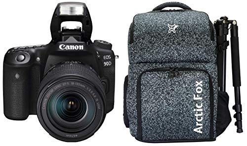 Canon EOS 90D Digital SLR Camera with 18-135 is USM Lens with 16GB Card + Arctic Fox Camera Bag with Lens, 15.5″ Laptop & Tripod Holder