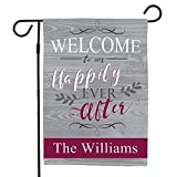 Cheap GiftsForYouNow Welcome to Our Happily Ever After Personalized Garden Flag