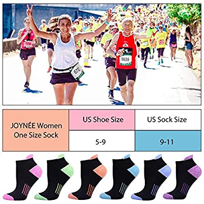 Womens Ankle Athletic Low Cut Tab Socks Cushioned Running Sports 6 Pack, Black, Sock Size 9-11 at Women's Clothing store
