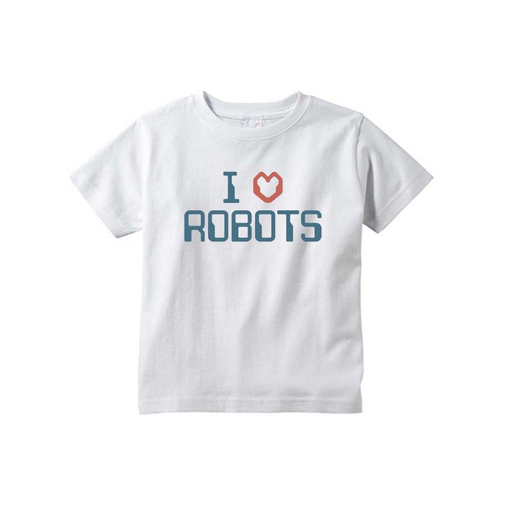 Cute I 3 Heart Love Robots Fun Funny Cotton Short Sleeve Toddler Kids Tee Shirt
