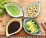 Stock Show 4Pcs Multipurpose Ceramic Seasoning Dishes Appetizer Plates, Multicolor Porcelain Saucers Bowl Dinnerware Set for Vinegar/Salad Soy Sauce/Wasabi/Chili Oil(Leaf Shape)