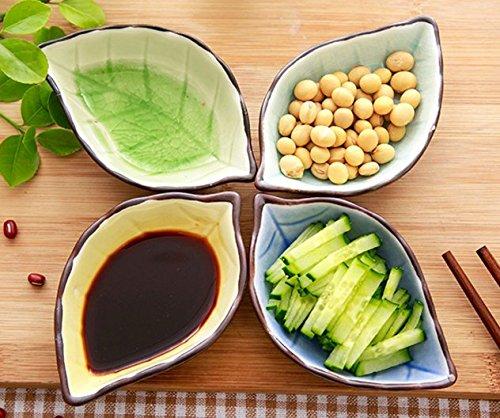 Stock Show 4Pcs Multipurpose Ceramic Seasoning Dishes Appetizer Plates, Multicolor Porcelain Saucers Bowl Dinnerware Set for Vinegar/Salad Soy Sauce/Wasabi/Chili Oil(Leaf Shape) (Sauce Shape Dish)