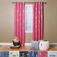 "Best Home Fashion Room Darkening Animal Print Curtains - Stainless Steel Nickel Grommet Top - Pink - 52""W x 84""L - (Set of 2 Panels)"