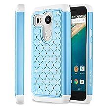 Fosmon (HYBO-SD) Google Nexus 5x Case (Star Diamond) Dual Layer Hybrid Cover for Nexus 5x - Fosmon Retail Packaging (Sky Blue/White)