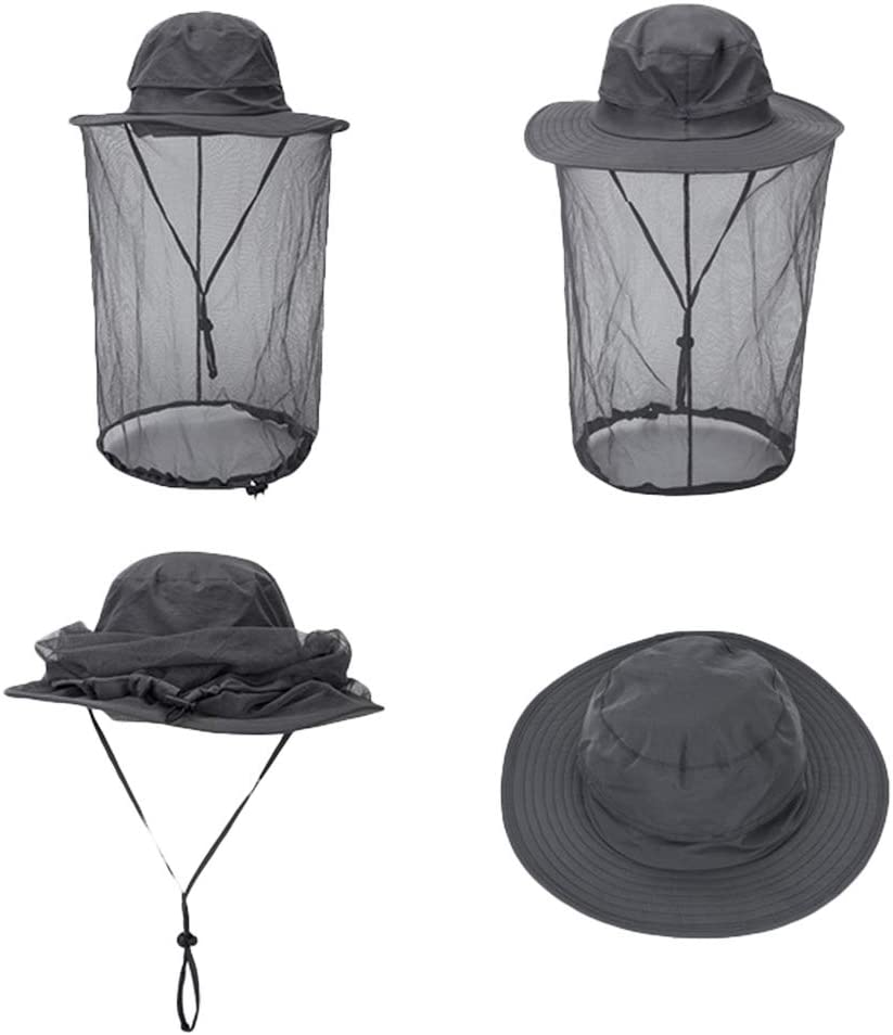 Black 1 Pcs Anti Mosquito Net Hat,Jungle Face Protection Mask Anti-mosquito Bucket Hat Midge Hat with Net Mesh Outdoor Fishing Travel Camping Cap