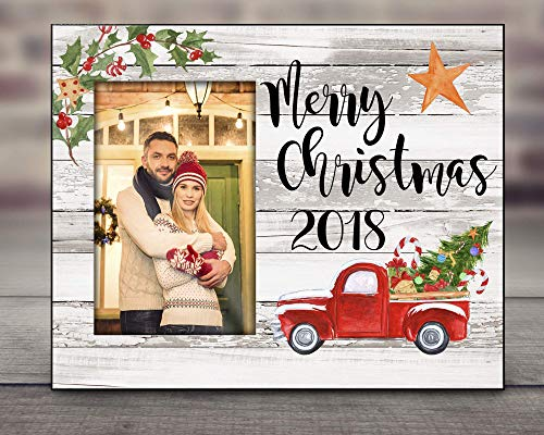 Personalized Photo Frame Merry Christmas with Vintage Red Truck and Christmas Tree Offset Picture
