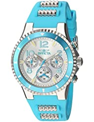 Invicta Womens BLU Quartz Stainless Steel and Silicone Casual Watch, Color:Blue (Model: 24191)