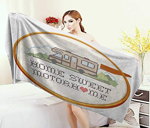 Home,Baby Bath Towel,Embroidery Hoop Cross Stitch Needlework Sewing Design Trailer Home Print,Print Wrap Towels,Multicolor Size: W 10