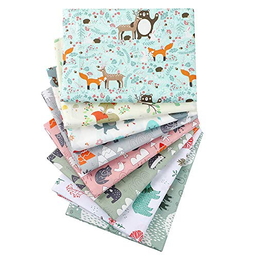 "Hanjunzhao Cute Animals Pastel Print Quilting Fabric Fat Quarters Bundles for Quilting Sewing Crafting,18"" x 22"""