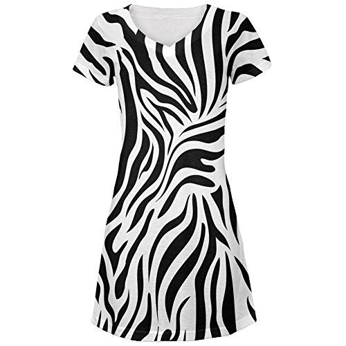 Zebra Print White All Over Juniors V-Neck Dress - Small