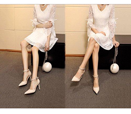 Scarpe 34 Alti Profonde Tacchi In Da Scarpe Beige Comode colore Morbida Epoca Poco Eleganti Pelle Baotou Sandali Formato Sexy Sposa Estivi B58wqRw