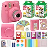 Fujifilm Instax Mini 9 Instant Camera Flamingo Pink with Custom Case + Fuji Instax Film Value Pack (40 sheets) Accessories Bundle, Color Filters, Photo Album, Assorted Frames, Selfie Lens + More