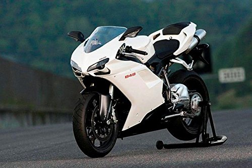 FocusAtOne Black with White Complete Fairing Bodywork ABS Painted Plastic Injection Molding Kit for 2007-2012 07-12 2008 2009 2010 2011 Ducati 848 EVO Corse SE Tricolore 1098 RTB 1198 S