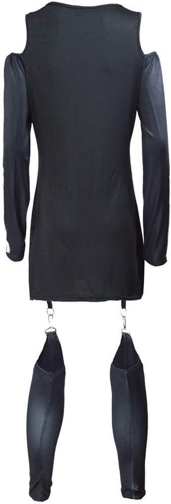 Mayunn Womens Fashion Halloween Punk Skeleton Print Long Sleeve Off Shoulder Jumpsuit