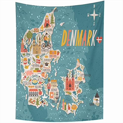 Ahawoso Tapestry 60 x 90 Inches Voyage Copenhagen Map Denmark Travel Flat City Doodle Vintage Candle Lighthouse Wall Hanging Home Decor Tapestries for Living Room Bedroom Dorm