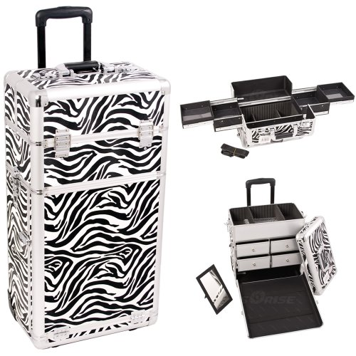 29 inch 2 in 1 Zebra Printing Texture Professional Rolling Wheeled Travel Cosmetics Train Case Makeup Trolley w/ 4 Easy Sliding Extendable Trays + 4 Aluminum Drawers