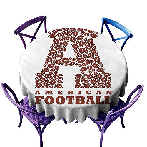 Velcro Sports Display Shapes - AndyTours Tablecloth for Kids/Childrens,Letter A,First Letter of The Alphabet Shape with American Footballs Athletism Sports,Table Cover for Home Restaurant,43 INCH Brown and White