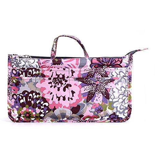 BTSKY Printing Handbag Organizers Inside Purse Insert - High Capacity 13 Pockets Bag Tote Organizer with Handle (Peony)