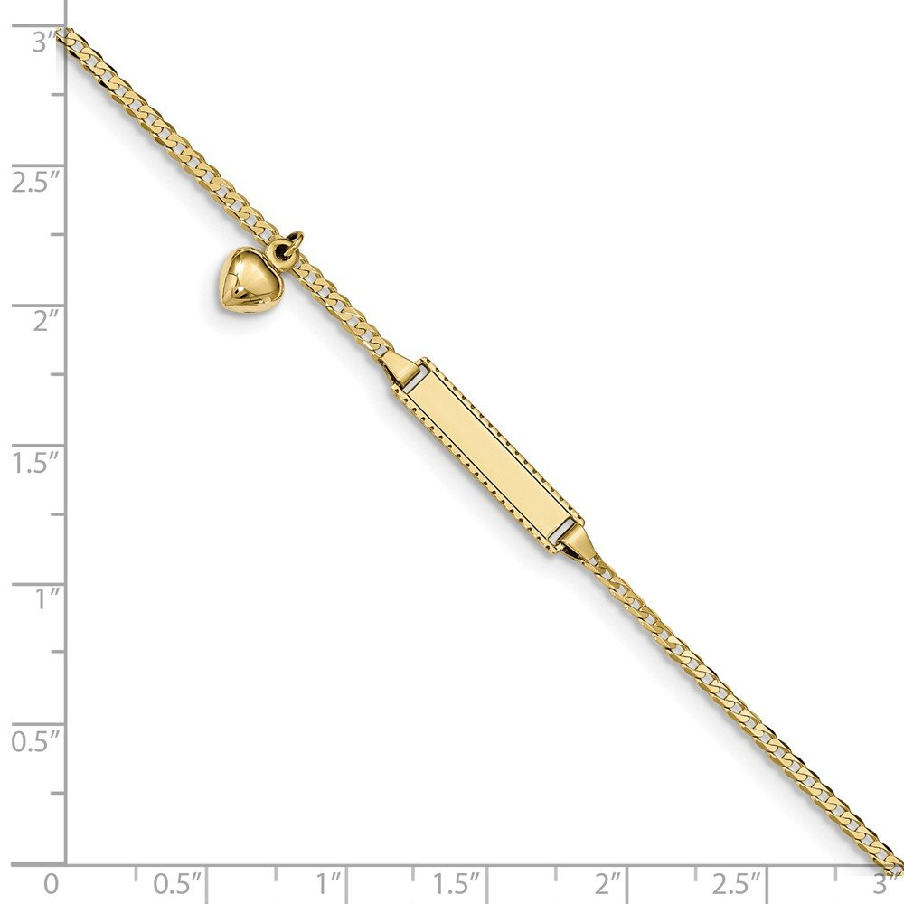 Roy Rose Jewelry 10K Yellow Gold Flat Curb Link ID Bracelet ~ length 6 inches