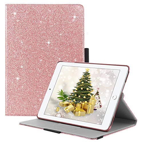 (iPad 2017/2018 iPad 9.7 inch Case,BENTOBEN Glitter Sparkle 360 Degree Stand Smart Cover Stylus Holder Auto Wake/Sleep Luxury Faux Leather Protective Case for iPad 9.7 Inch (6th Gen/5th Gen), Rose Gold)
