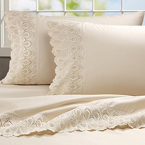 Ivory Lace Flat Sheet (Addy Home Fashions Luxury Lace 600 Thread Count Cotton Rich Sheet Set Ivory King)