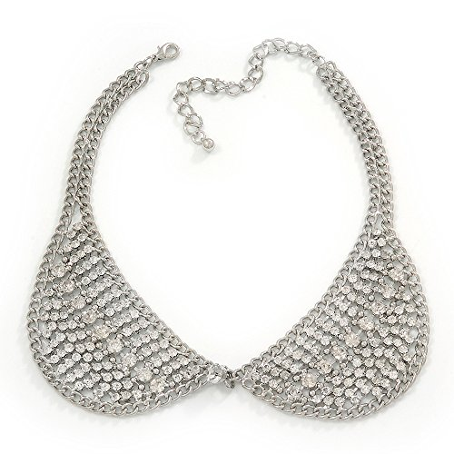 Clear Swarovski Crystal Peter Pan Collar Necklace In Silver Plating - 36cm Length/ 11cm Extension