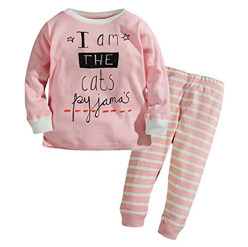 Halloween Graphic Sleep Sets For Baby (Little Big Girls' 2Piece Long Sleeve Cotton Pajama Sleepwear Set (24M, Pink-C))