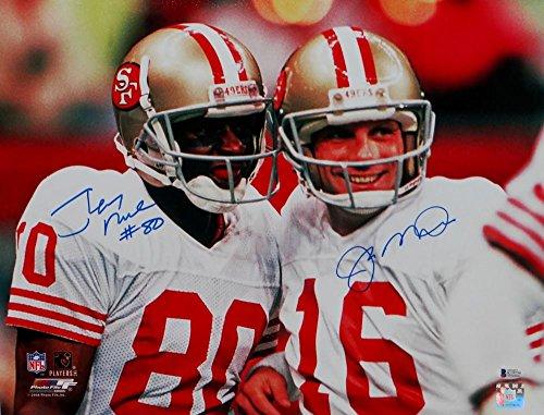 Joe Montana Jerry Rice Autographed 49ers 16x20 Smiling Photo- Beckett Auth Blue