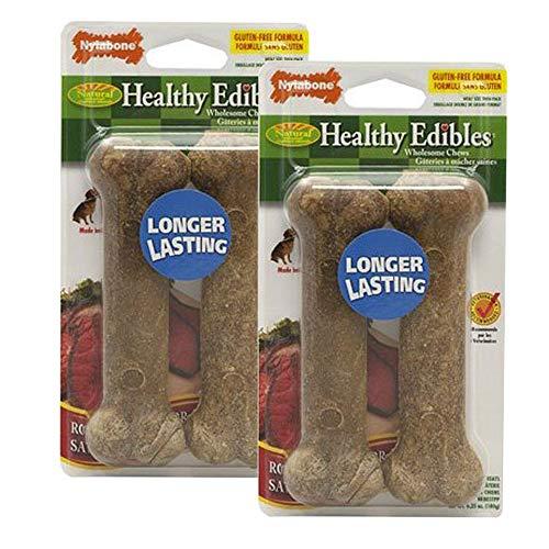 Nylabone Healthy Edibles Wolf Roast Beef Flavored Twin Pack Dog Treat Bone