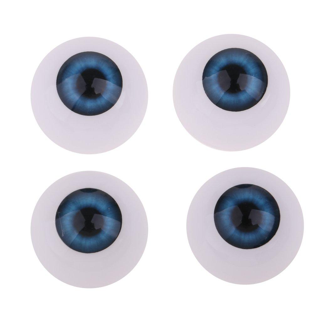 D DOLITY 4pieces Oblate Eyeballs Eyes Hollow Acrylic Eyeballs Half Round For Baby Doll BJD SD DZ DOD Doll Accs Craft DIY Supplies 22mm Skyblue