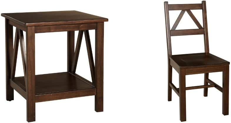 Linon Home Dcor Linon Home Decor Titian End Table, 20%22w x 17.72%22d x 22.01%22h, Antique Tobacco & Titian Chair, Antique Tobacco Finish