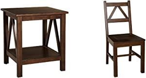 Linon Home Dcor Linon Home Decor Titian End Table, 20%22w x 17.72%22d x 22.01%22h, Antique Tobacco & Titian Chair, Antique Tobacco Finish