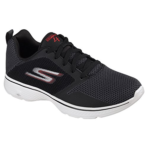 Skechers Mens Go Walk 4 Solar Lace Up Trainers Black/Red
