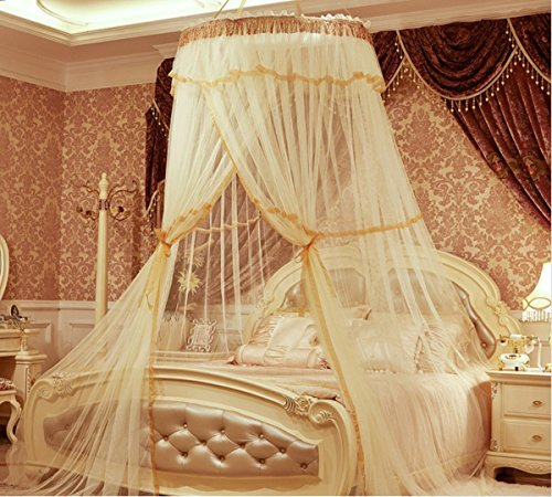 Elegent Round Hoop Bed Canopy Netting Mosquito Net for all Size Bed Netting Fit Crib, Twin, Full, Queen, King (yellow)