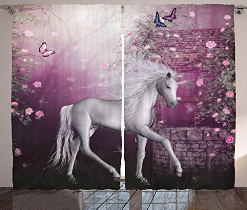 Ambesonne Fantasy House Decor Collection, Unicorn in Rose Garden Summer Flying Butterflies Romance Fairy Tail Themed Art, Living Room Bedroom Curtain 2 Panels Set, 108 X 84 Inches, Pink White