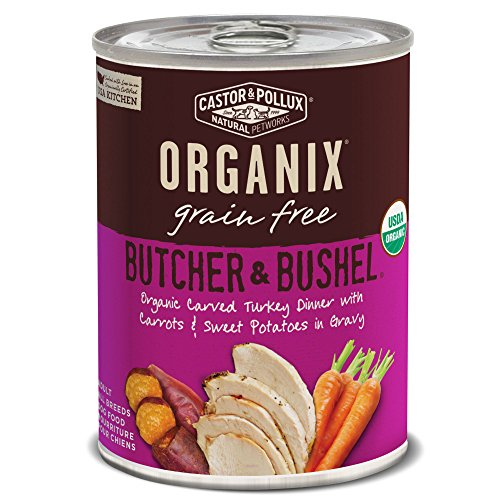 Organix Castor & Pollux Butcher & Bushel Organic Carved Turkey Dinner with Carrots & Sweet Potatoes Wet Dog Food, 12.7 oz, Case of 12 Cans