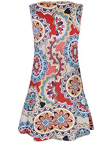 Pockets Summer with T Sleeveless Damask Floral Casual Print Shirt Women Dress Buauty Navy P5wqRR