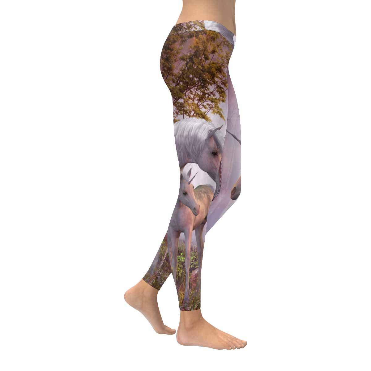 InterestPrint Womens Soft Slim Leggings White Unicorn Running Workout Active Leggings XXS-5XL
