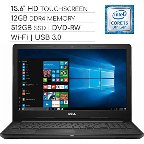 Dell Inspiron 3000 Series with DVD, 15.6 inch Touchscreen 2019 Laptop Notebook Computer, Intel Core i5-7200U 2.5Ghz, 12GB DDR4 RAM, 512GB SSD, Wi-Fi, HDMI, Webcam, Bluetooth, USB 3.0, Windows 10