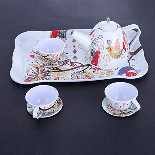 ( Pretend Play, Children's Pretend Toy Deluxe Afternoon Tin Tea Set & Carry Case-Bird Flower by Little Story )