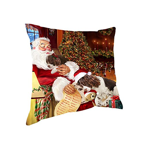 Happy Holidays with Santa Sleeping with English Springer Spaniel Dogs Christmas Pillow - Springer Spaniel Pillow