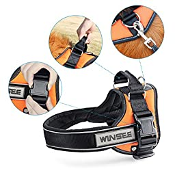 Dog Harness, WINSEE No-Pull Dog Harness Reflective Adjustable Harness with Handle for Extra Big Large Medium Dogs (XL)
