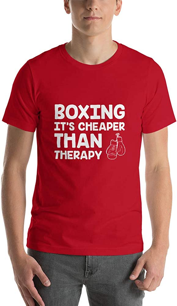 Quotablee Boxing is Cheaper Than Therapy Shirt Tee Shirt Gift Weight Knock Out Short-Sleeve Un