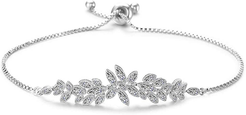 KKVK Flower Zircon Charm Bracelet Bracelet for Woman Girl Fashion Silver Chain Pulsera Ajustable para Mujer Regalo de Fiesta