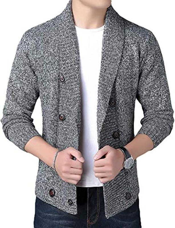 AiMei Men Shawl Collar Knitwear Slim Fall-Winter Double-Breasted Sweater Cardigan: Odzież
