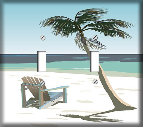 Beach Chair Under Palm Tree Double Toggle Decorative Switchplate - Palm Outlets Beach