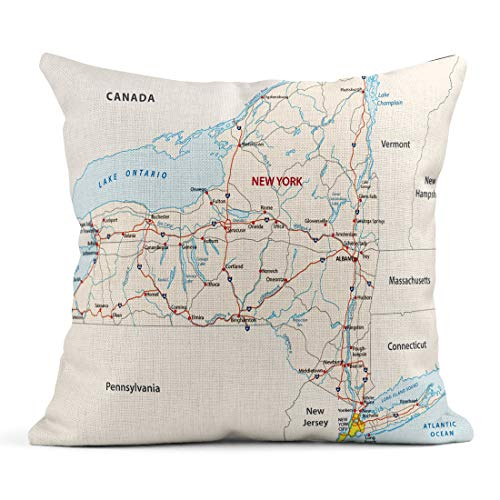 Emvency Decor Flax Throw Pillow Covers Case Island New York State Road Map Long Pennsylvania River Jersey Hudson USA Canada 18