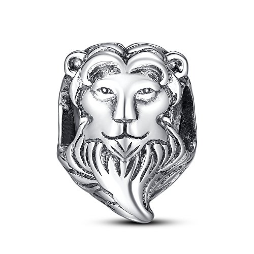 Sterling Silver Faceted Tigers (Glamulet Art Women's 925 Sterling Silver Lion Head Animal Charm Fits Pandora)