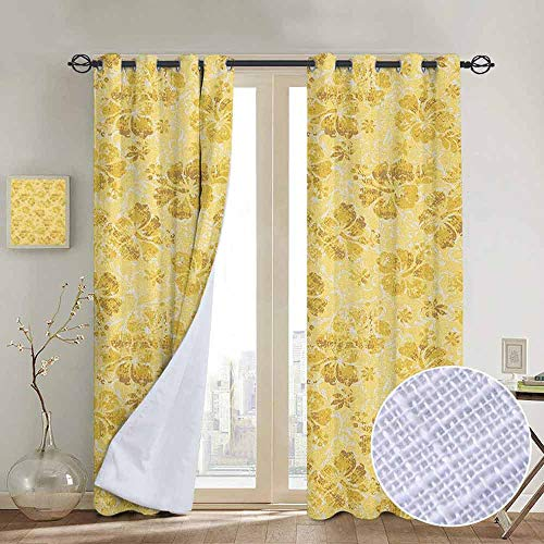 Blackout Curtains Hawaiian,Golden Hibiscus Flowers Pattern Grunge Tropical Beach Theme in Hawaii Nature Picture, Gold,Thermal Insulated Panels Home Décor Window Draperies for Bedroom a84